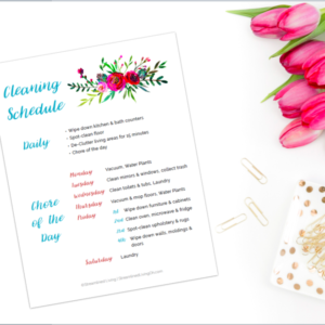 The beautiful printable cleaning schedule is sure to keep your home clean and organized!