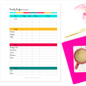 Use this fabulous monthly budget worksheet to plan out your financial future! Get financial stability by making a budget and sticking to it with this Monthly Budget Tracker.