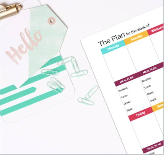 Beautifully simple blank weekly calendar planner page that is a perfect addition to any DIY printable planner as a planner insert. Great organizing printable with integrated meal planning block!