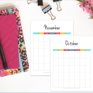 What a gorgeous printable monthly calendar! I love how it's undated so it can be reused year after year!