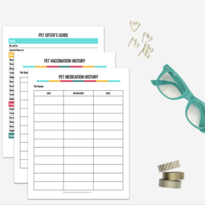Taking care of your furry or finned family members has never been easier with this fabulous printable and fillable pet planner! It has everything needed to leave detailed notes and instructions for pet sitters, track vaccinations and so much more!