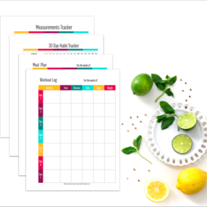Get on the path to a healthy lifestyle with these fantastic Fitness Planner and Organizing Printables designed to help you reach your heathy goals!  There really isn't an easier way of keeping track of what you're eating, your activity level and water intake.  Track your progress, and easily reach your fitness goals as you keep everything organized!