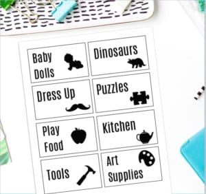 Gather up your children's toys, stow them in a bin, then attach these cute printable toy organizing labels for the most organized toy room ever!