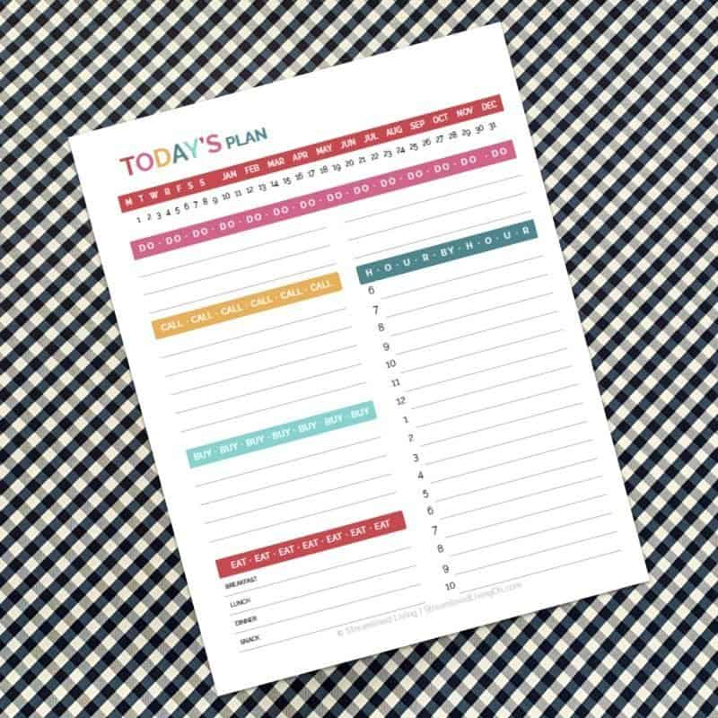 Today's Plan Colorful Agenda Planner Inser